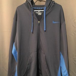 Mens Size XXL Nike Hoodie L/S Therma Fit Blue EUC